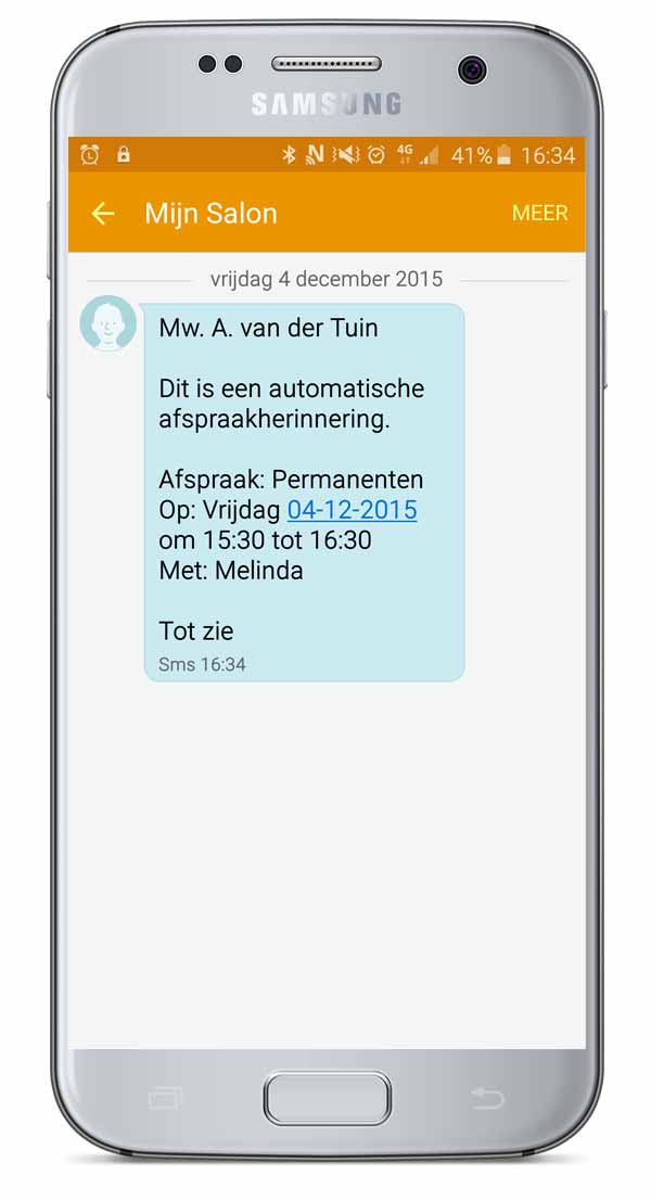 sms salon software, sms herinnering